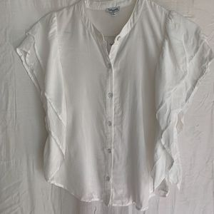 Splendid White Blouse w/ Detailed Sleeves